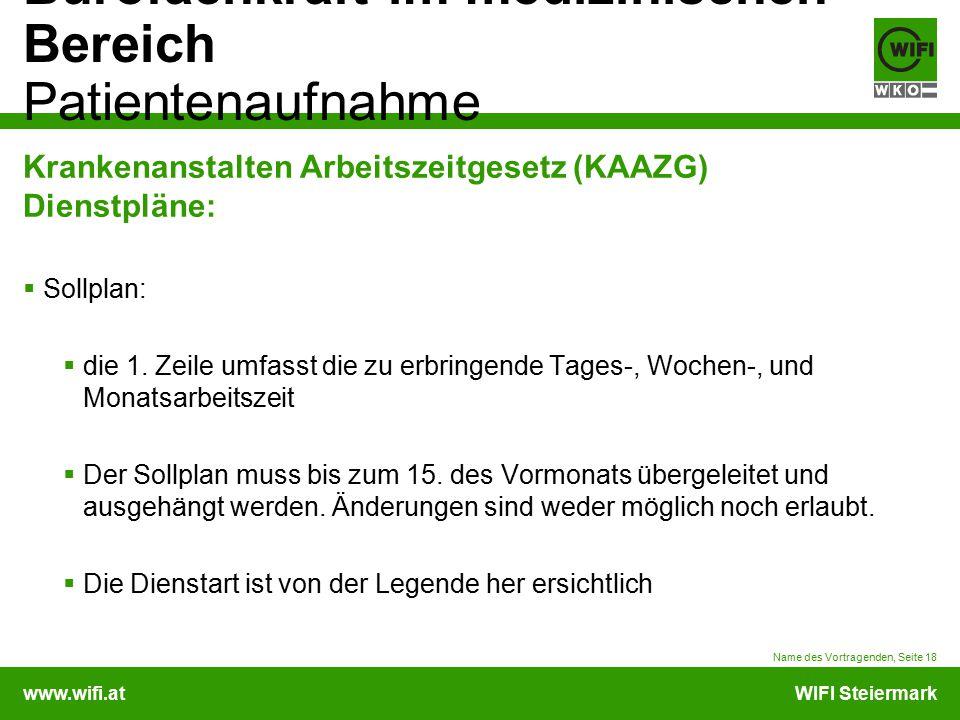 www.wifi.atWIFI Steiermark Bürofachkraft im medizinischen Bereich Patientenaufnahme Krankenanstalten Arbeitszeitgesetz (KAAZG) Dienstpläne:  Sollplan