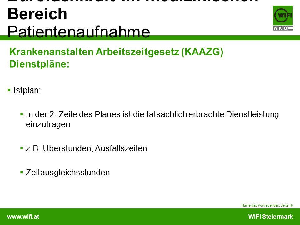 www.wifi.atWIFI Steiermark Bürofachkraft im medizinischen Bereich Patientenaufnahme Krankenanstalten Arbeitszeitgesetz (KAAZG) Dienstpläne:  Istplan: