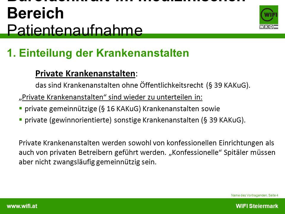 www.wifi.atWIFI Steiermark Bürofachkraft im medizinischen Bereich Patientenaufnahme 1. Einteilung der Krankenanstalten Private Krankenanstalten: das s