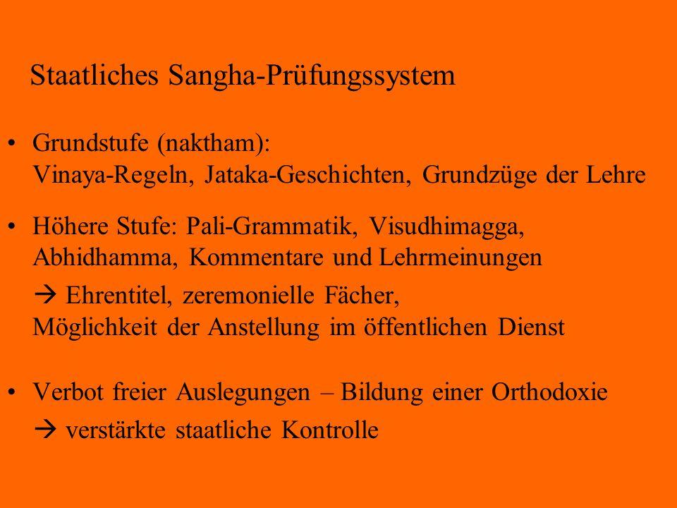 Staatliches Sangha-Prüfungssystem Grundstufe (naktham): Vinaya-Regeln, Jataka-Geschichten, Grundzüge der Lehre Höhere Stufe: Pali-Grammatik, Visudhima