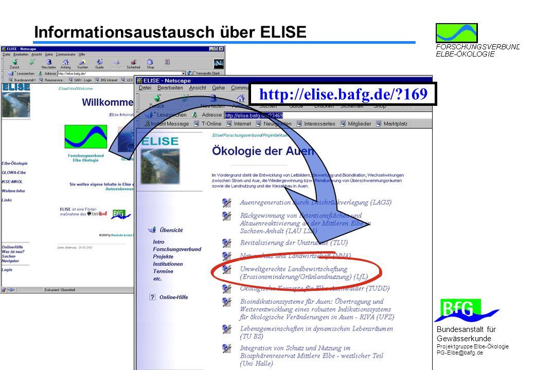 Bundesanstalt für Gewässerkunde Projektgruppe Elbe-Ökologie PG-Elbe@bafg.de Informationsaustausch über ELISE http://elise.bafg.de/?169