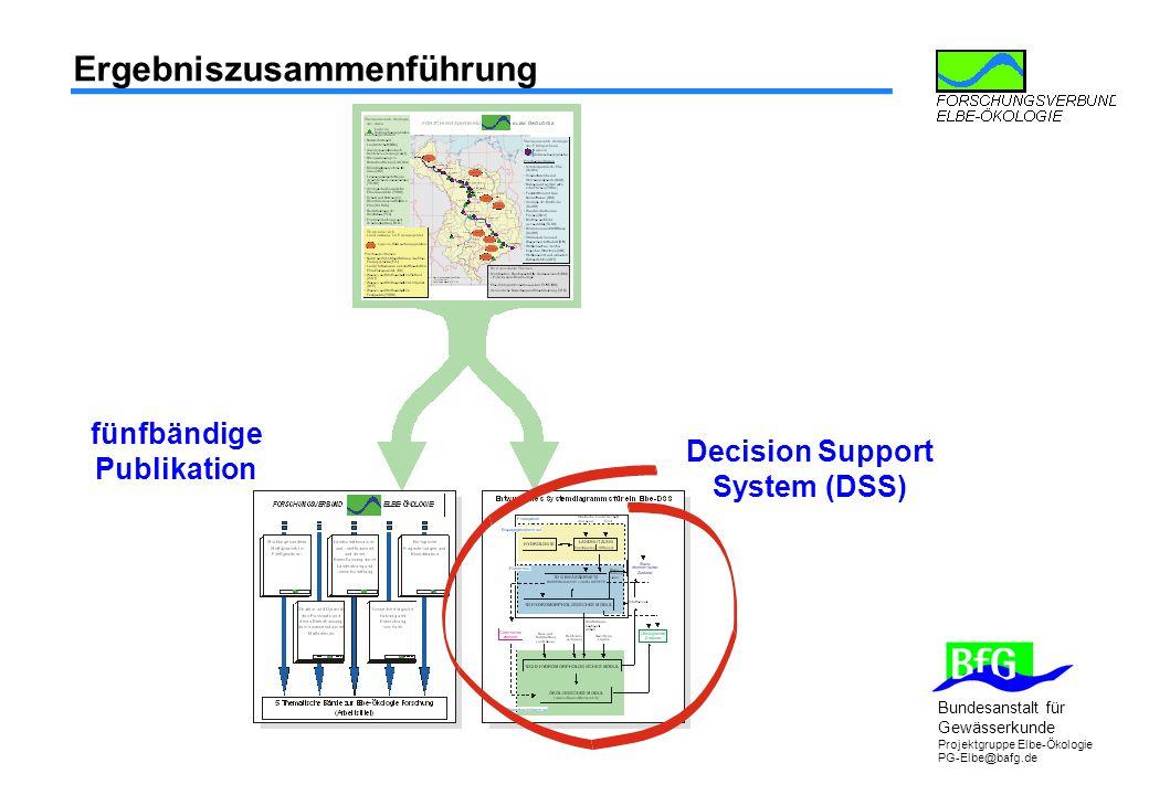 Bundesanstalt für Gewässerkunde Projektgruppe Elbe-Ökologie PG-Elbe@bafg.de Ergebniszusammenführung fünfbändige Publikation Decision Support System (DSS)