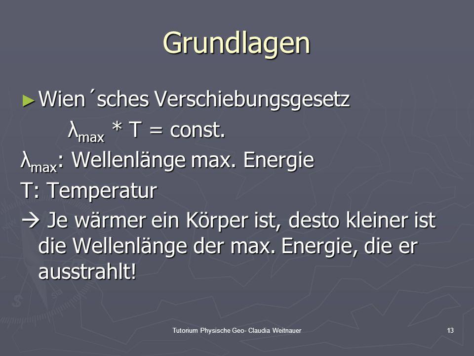Tutorium Physische Geo- Claudia Weitnauer13 Grundlagen ► Wien´sches Verschiebungsgesetz λ max * T = const. λ max : Wellenlänge max. Energie T: Tempera