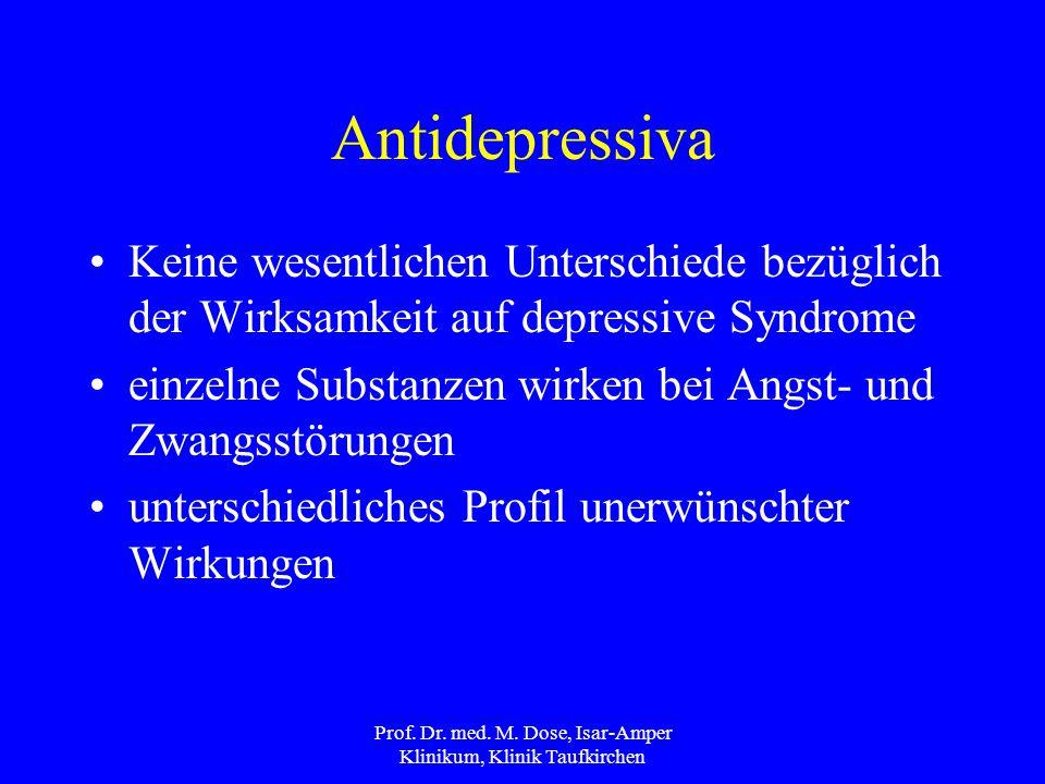 Antidepressiva Keine wesentlichen Unterschiede bezüglich der Wirksamkeit auf depressive Syndrome einzelne Substanzen wirken bei Angst- und Zwangsstörungen unterschiedliches Profil unerwünschter Wirkungen