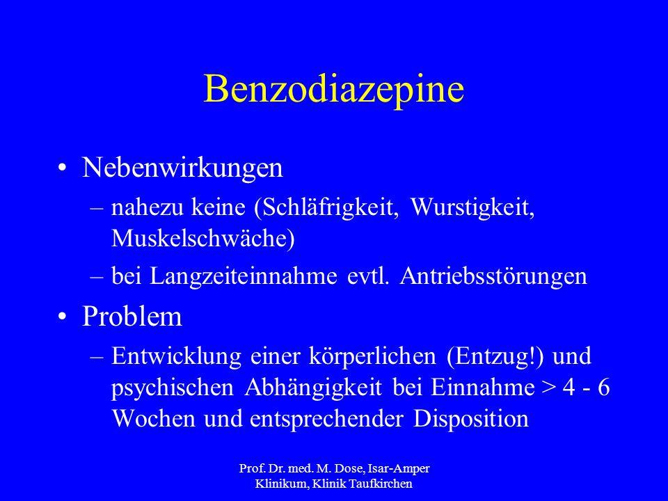 Benzodiazepine Nebenwirkungen –nahezu keine (Schläfrigkeit, Wurstigkeit, Muskelschwäche) –bei Langzeiteinnahme evtl.
