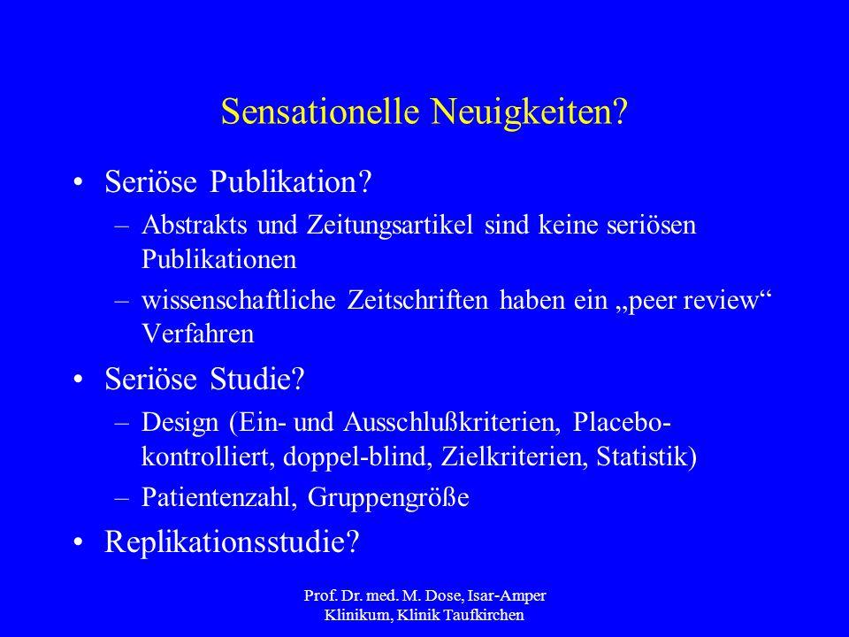 Prof.Dr. med. M. Dose, Isar-Amper Klinikum, Klinik Taufkirchen Sensationelle Neuigkeiten.