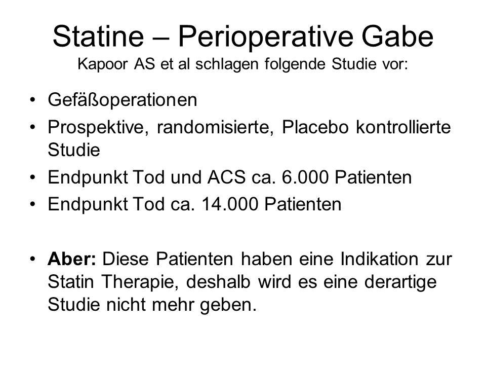 Statine – Perioperative Gabe Kapoor AS et al schlagen folgende Studie vor: Gefäßoperationen Prospektive, randomisierte, Placebo kontrollierte Studie E