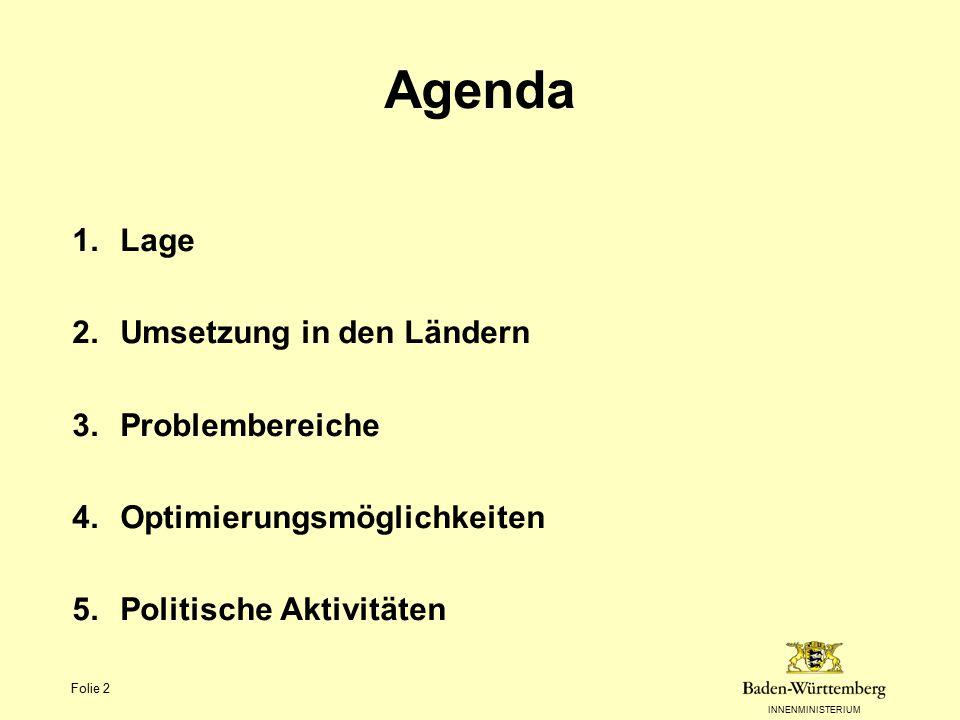 INNENMINISTERIUM Folie 2 Agenda 1.Lage 2.Umsetzung in den Ländern 3.Problembereiche 4.Optimierungsmöglichkeiten 5.Politische Aktivitäten