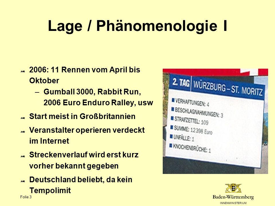 INNENMINISTERIUM Folie 3 Lage / Phänomenologie I 2006: 11 Rennen vom April bis Oktober –Gumball 3000, Rabbit Run, 2006 Euro Enduro Ralley, usw Start m