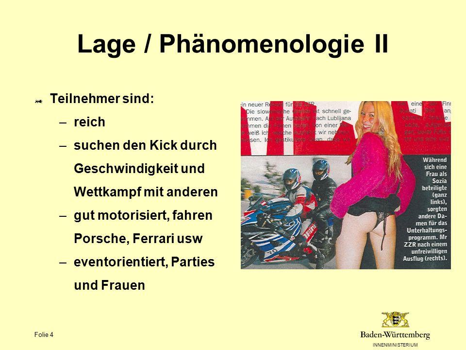 INNENMINISTERIUM Folie 4 Lage / Phänomenologie II Teilnehmer sind: –reich –suchen den Kick durch Geschwindigkeit und Wettkampf mit anderen –gut motori