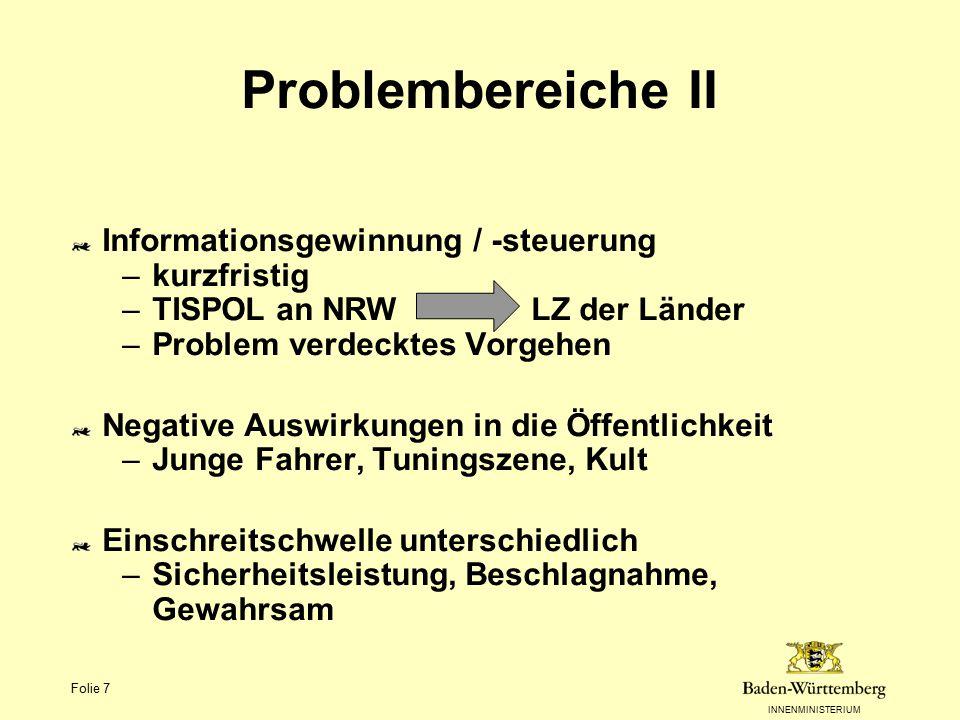 INNENMINISTERIUM Folie 7 Problembereiche II Informationsgewinnung / -steuerung –kurzfristig –TISPOL an NRW LZ der Länder –Problem verdecktes Vorgehen