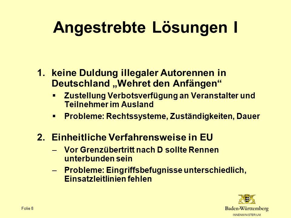 """INNENMINISTERIUM Folie 8 Angestrebte Lösungen I 1.keine Duldung illegaler Autorennen in Deutschland """"Wehret den Anfängen""""  Zustellung Verbotsverfügun"""