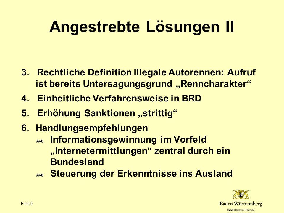 """INNENMINISTERIUM Folie 9 Angestrebte Lösungen II 3. Rechtliche Definition Illegale Autorennen: Aufruf ist bereits Untersagungsgrund """"Renncharakter"""" 4."""