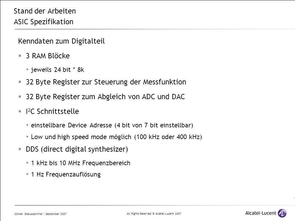 All Rights Reserved © Alcatel-Lucent 2007 COMAN Statusseminar | September 2007 Stand der Arbeiten ASIC Spezifikation Kenndaten zum Digitalteil  3 RAM Blöcke  jeweils 24 bit * 8k  32 Byte Register zur Steuerung der Messfunktion  32 Byte Register zum Abgleich von ADC und DAC  I 2 C Schnittstelle  einstellbare Device Adresse (4 bit von 7 bit einstellbar)  Low und high speed mode möglich (100 kHz oder 400 kHz)  DDS (direct digital synthesizer)  1 kHz bis 10 MHz Frequenzbereich  1 Hz Frequenzauflösung