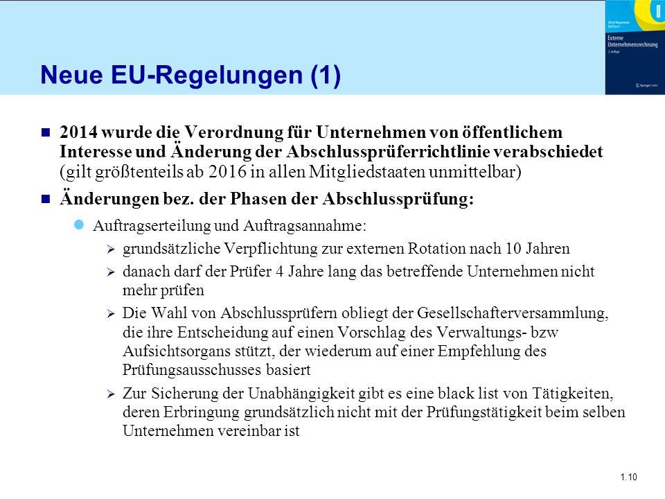 1.10 Neue EU-Regelungen (1) n 2014 wurde die Verordnung für Unternehmen von öffentlichem Interesse und Änderung der Abschlussprüferrichtlinie verab