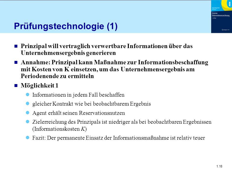 1.18 Prüfungstechnologie (1) n Prinzipal will vertraglich verwertbare Informationen über das Unternehmensergebnis generieren n Annahme: Prinzipal kann