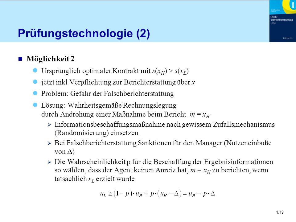 1.19 Prüfungstechnologie (2) n Möglichkeit 2 Ursprünglich optimaler Kontrakt mit s(x H ) > s(x L ) jetzt inkl Verpflichtung zur Berichterstattung über