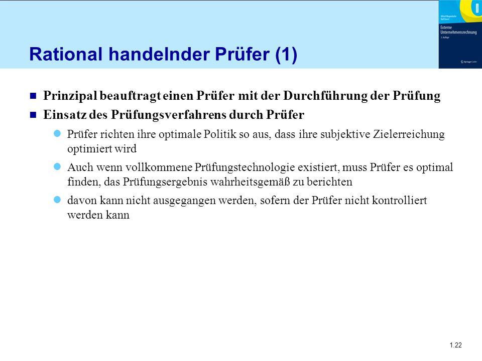 1.22 Rational handelnder Prüfer (1) n Prinzipal beauftragt einen Prüfer mit der Durchführung der Prüfung n Einsatz des Prüfungsverfahrens durch Prüfer