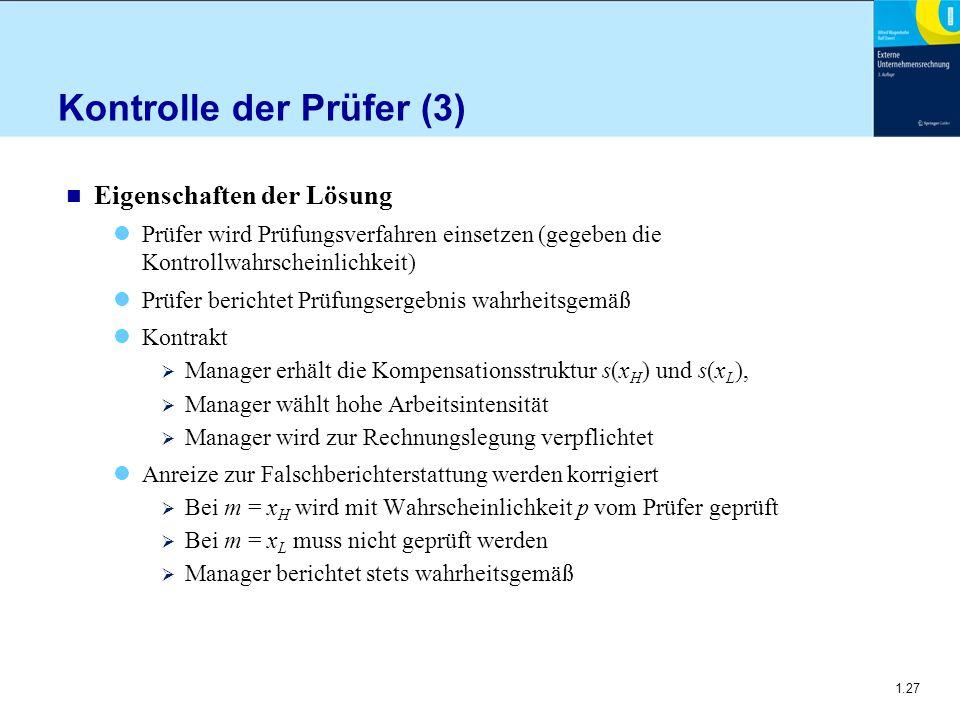 1.27 Kontrolle der Prüfer (3) n Eigenschaften der Lösung Prüfer wird Prüfungsverfahren einsetzen (gegeben die Kontrollwahrscheinlichkeit) Prüfer beric