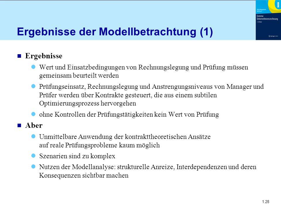 1.28 Ergebnisse der Modellbetrachtung (1) n Ergebnisse Wert und Einsatzbedingungen von Rechnungslegung und Prüfung müssen gemeinsam beurteilt werden P