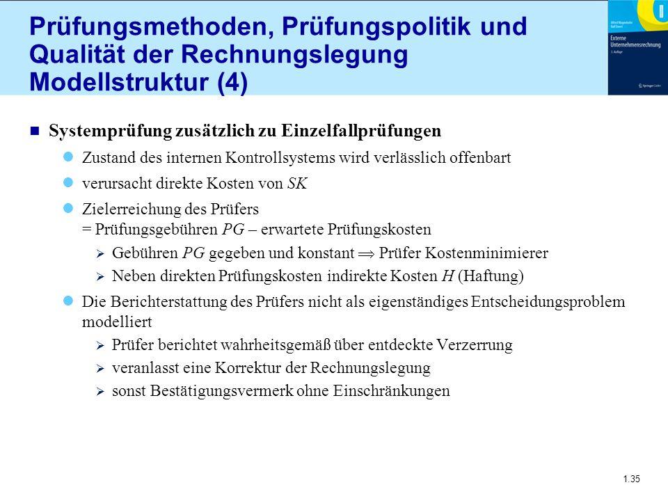 1.35 Prüfungsmethoden, Prüfungspolitik und Qualität der Rechnungslegung Modellstruktur (4) n Systemprüfung zusätzlich zu Einzelfallprüfungen Zustand d