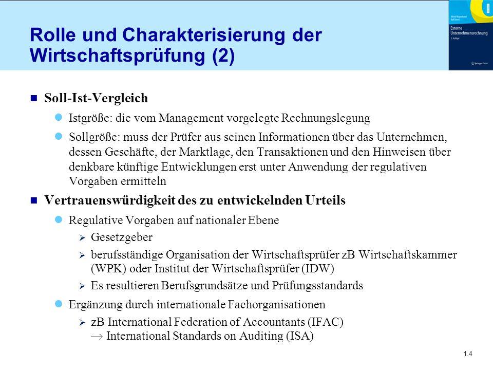 1.4 Rolle und Charakterisierung der Wirtschaftsprüfung (2) n Soll-Ist-Vergleich Istgröße: die vom Management vorgelegte Rechnungslegung Sollgröße: mus