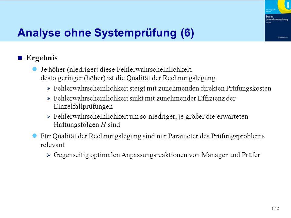 1.42 Analyse ohne Systemprüfung (6) n Ergebnis Je höher (niedriger) diese Fehlerwahrscheinlichkeit, desto geringer (höher) ist die Qualität der Rechnu
