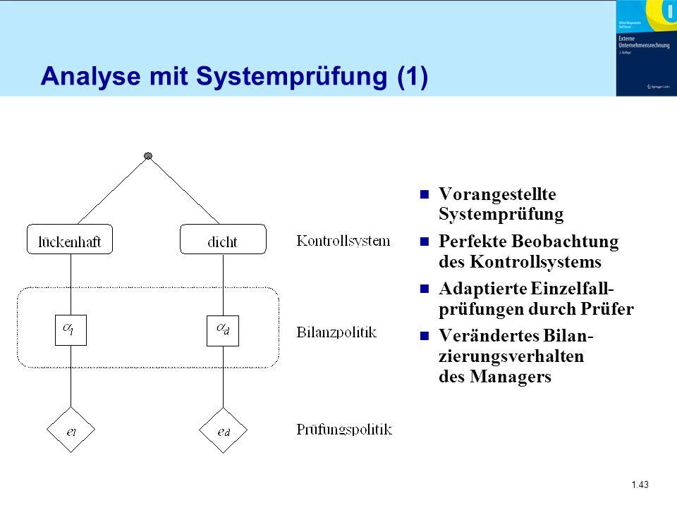 1.43 Analyse mit Systemprüfung (1) n Vorangestellte Systemprüfung n Perfekte Beobachtung des Kontrollsystems n Adaptierte Einzelfall- prüfungen durch