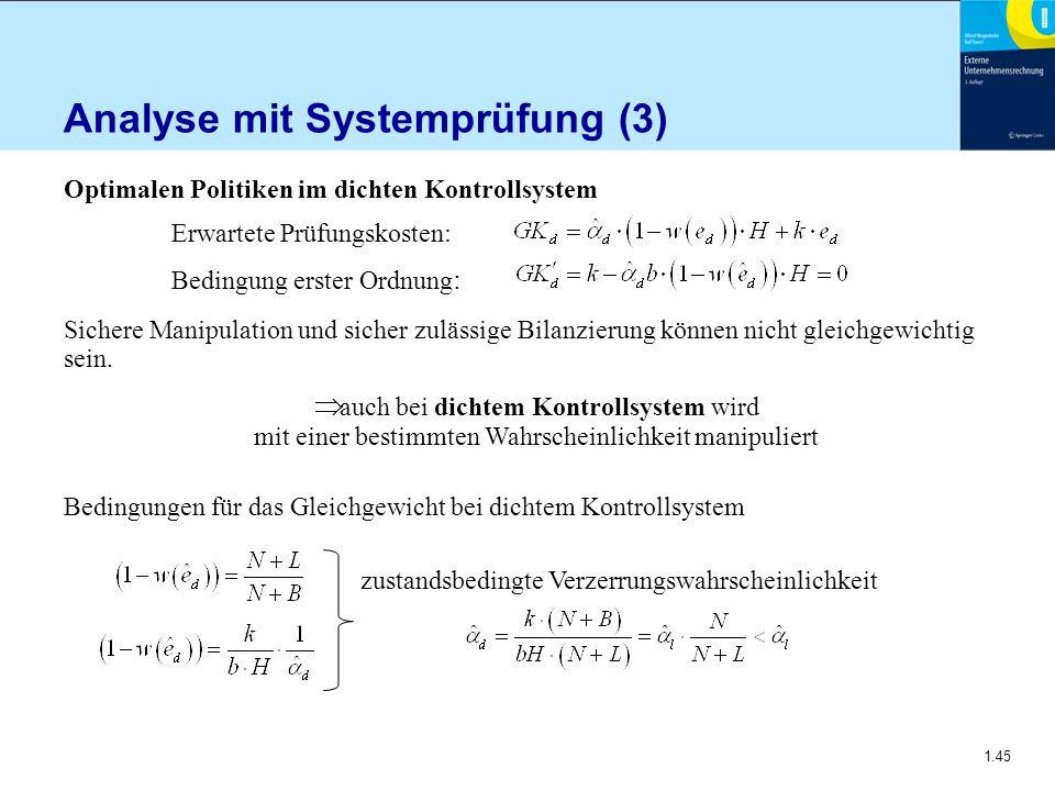 1.45 Analyse mit Systemprüfung (3) Optimalen Politiken im dichten Kontrollsystem Erwartete Prüfungskosten: Bedingung erster Ordnung : Sichere Manipula