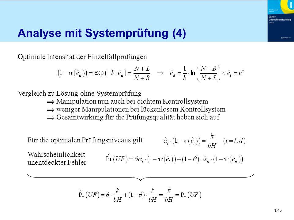1.46 Analyse mit Systemprüfung (4) Optimale Intensität der Einzelfallprüfungen Vergleich zu Lösung ohne Systemprüfung  Manipulation nun auch bei dich