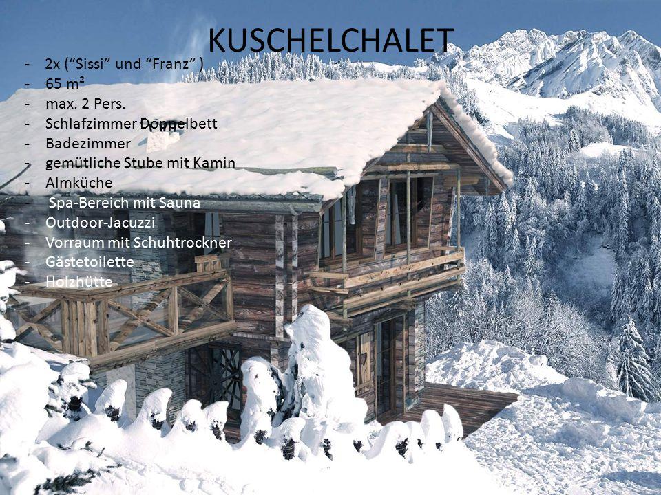 ALMCHALET -4x ( Sennerin , Wilderer , Hirtabua und Almöhi ,) -75 m² -4 Personen -Schlafzimmer mit Doppelbett -Spitzbodenzimmer mit zwei Schlafplätzen -Badezimmer -gemütliche Stube mit Kamin -Almküche -Spa-Bereich mit Sauna -Outdoor-Jacuzzi -Vorraum mit Schuhtrockner -Gästetoilette -Holzhütte