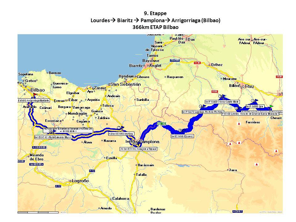 9. Etappe Lourdes  Biaritz  Pamplona  Arrigorriaga (Bilbao) 366km ETAP Bilbao