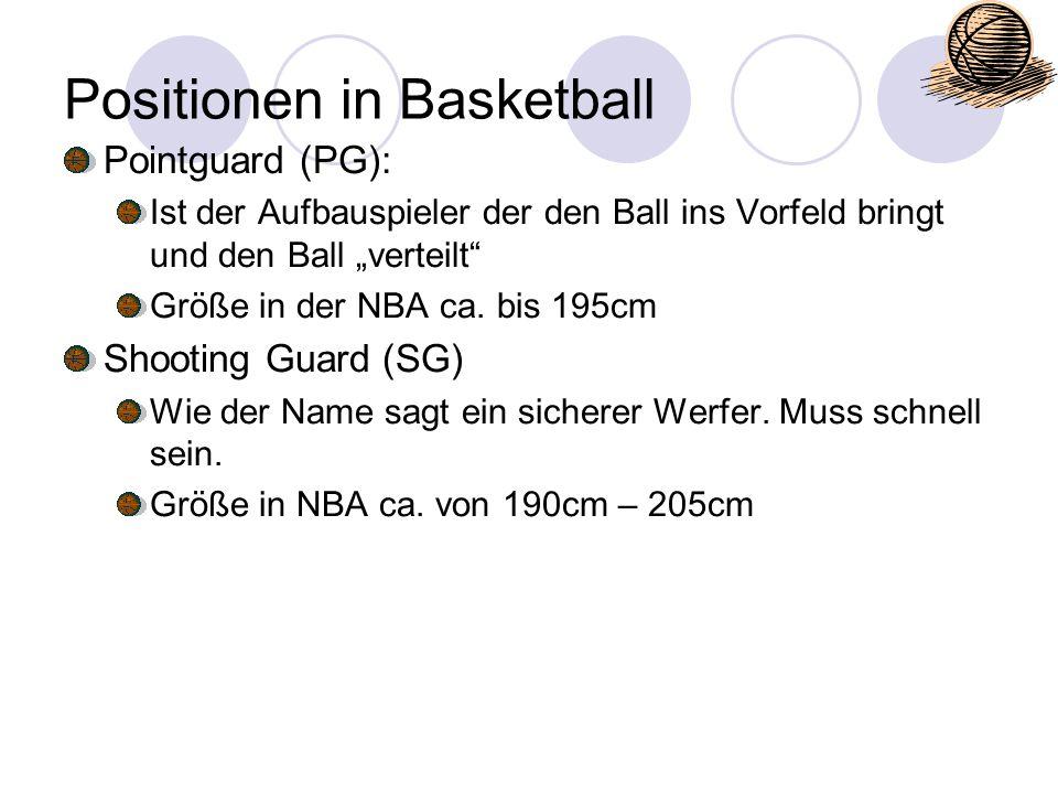 """Positionen in Basketball Pointguard (PG): Ist der Aufbauspieler der den Ball ins Vorfeld bringt und den Ball """"verteilt"""" Größe in der NBA ca. bis 195cm"""