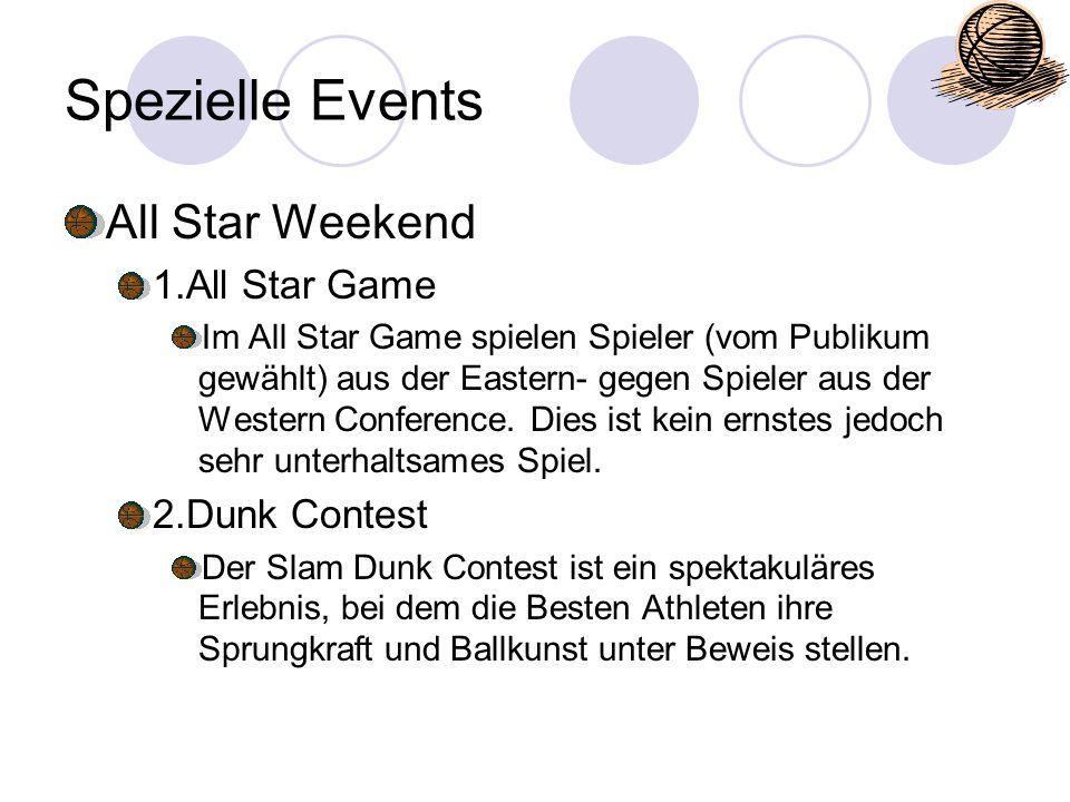 Spezielle Events All Star Weekend 1.All Star Game Im All Star Game spielen Spieler (vom Publikum gewählt) aus der Eastern- gegen Spieler aus der Weste