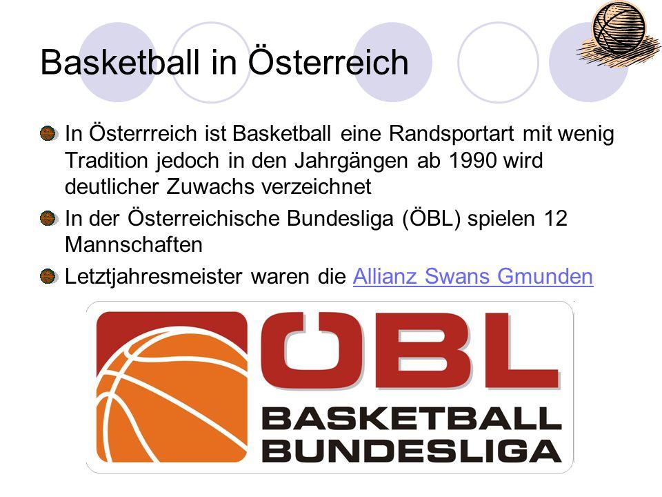 Basketball in Österreich In Österrreich ist Basketball eine Randsportart mit wenig Tradition jedoch in den Jahrgängen ab 1990 wird deutlicher Zuwachs
