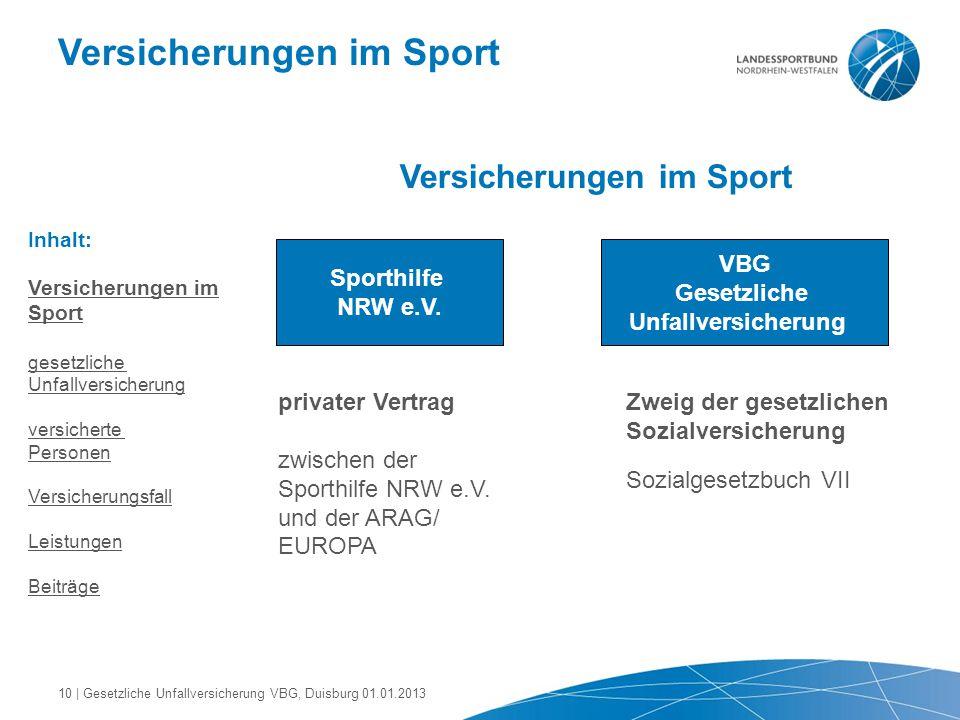 Versicherungen im Sport Sporthilfe NRW e.V. VBG Gesetzliche Unfallversicherung privater Vertrag zwischen der Sporthilfe NRW e.V. und der ARAG/ EUROPA