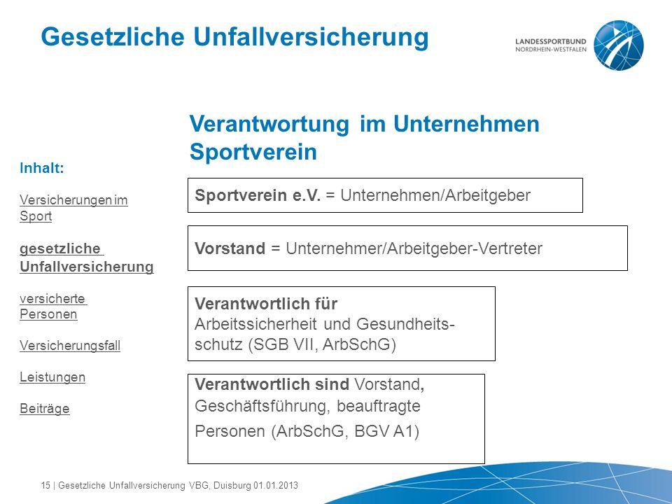 Gesetzliche Unfallversicherung Verantwortung im Unternehmen Sportverein Sportverein e.V. = Unternehmen/Arbeitgeber Vorstand = Unternehmer/Arbeitgeber-