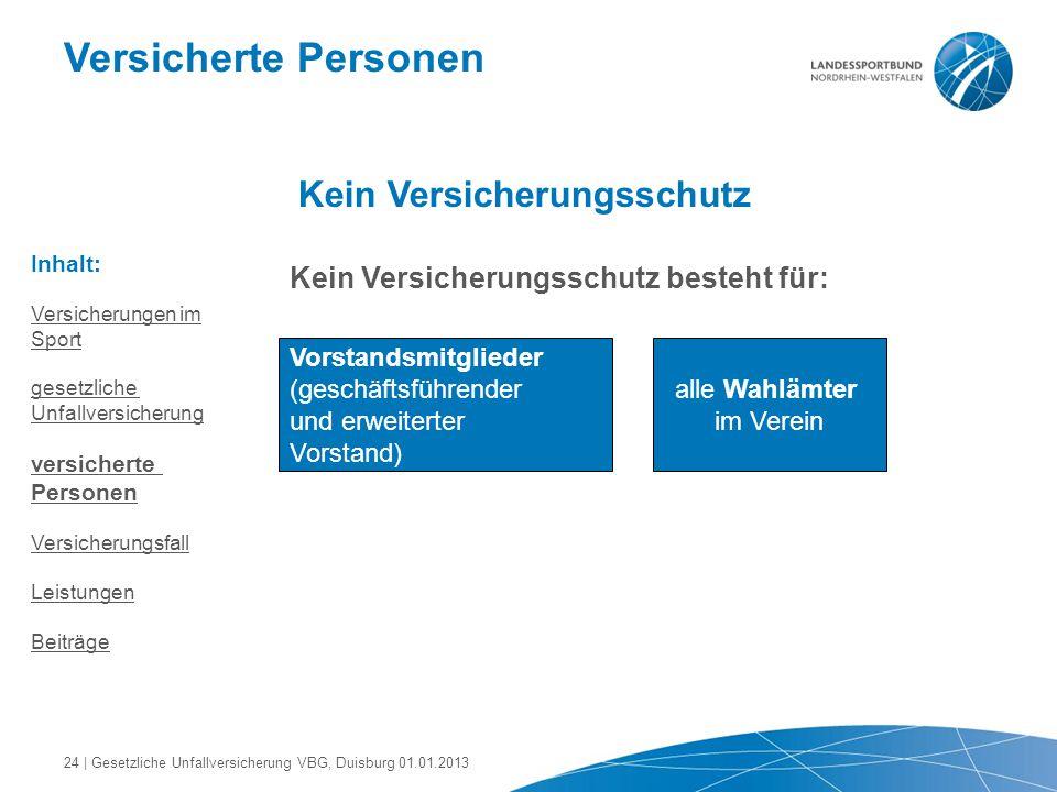 Versicherte Personen Kein Versicherungsschutz Kein Versicherungsschutz besteht für: Vorstandsmitglieder (geschäftsführender und erweiterter Vorstand)