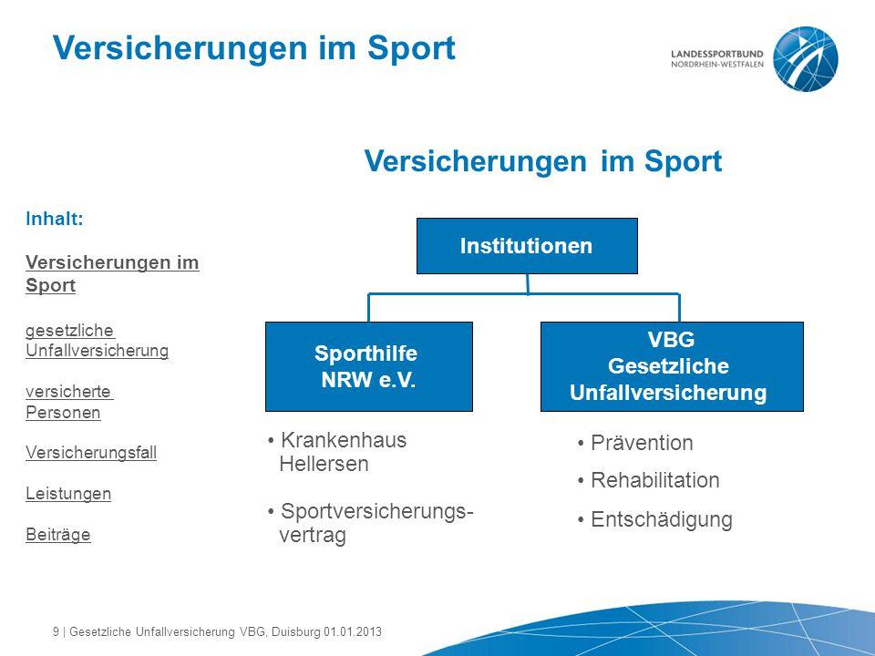 Versicherungen im Sport Inhalt: Versicherungen im Sport gesetzliche Unfallversicherung versicherte Personen Versicherungsfall Leistungen Beiträge Inst