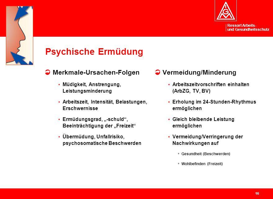 Ressort Arbeits- und Gesundheitsschutz 16 Psychische Ermüdung Merkmale-Ursachen-Folgen Müdigkeit, Anstrengung, Leistungsminderung Arbeitszeit, Intensi