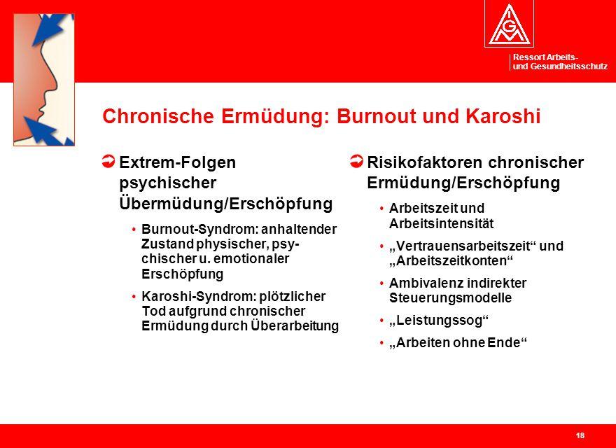 Ressort Arbeits- und Gesundheitsschutz 18 Chronische Ermüdung: Burnout und Karoshi Extrem-Folgen psychischer Übermüdung/Erschöpfung Burnout-Syndrom: a