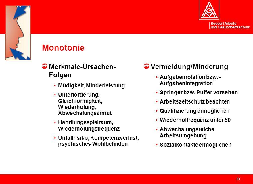 Ressort Arbeits- und Gesundheitsschutz 24 Monotonie Merkmale-Ursachen- Folgen Müdigkeit, Minderleistung Unterforderung, Gleichförmigkeit, Wiederholung