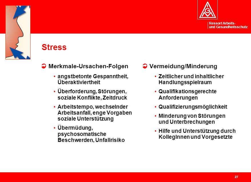 Ressort Arbeits- und Gesundheitsschutz 27 Stress Merkmale-Ursachen-Folgen angstbetonte Gespanntheit, Überaktiviertheit Überforderung, Störungen, sozia