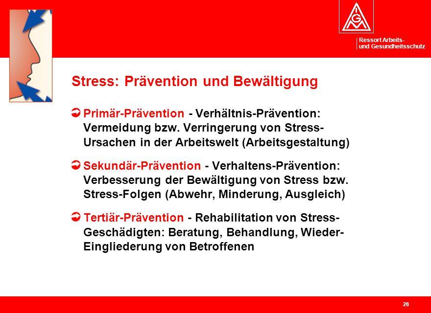 Ressort Arbeits- und Gesundheitsschutz 28 Stress: Prävention und Bewältigung Primär-Prävention - Verhältnis-Prävention: Vermeidung bzw. Verringerung v