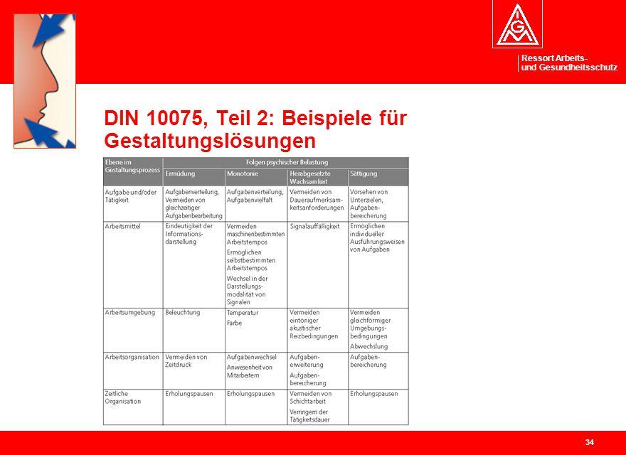 Ressort Arbeits- und Gesundheitsschutz 34 DIN 10075, Teil 2: Beispiele für Gestaltungslösungen