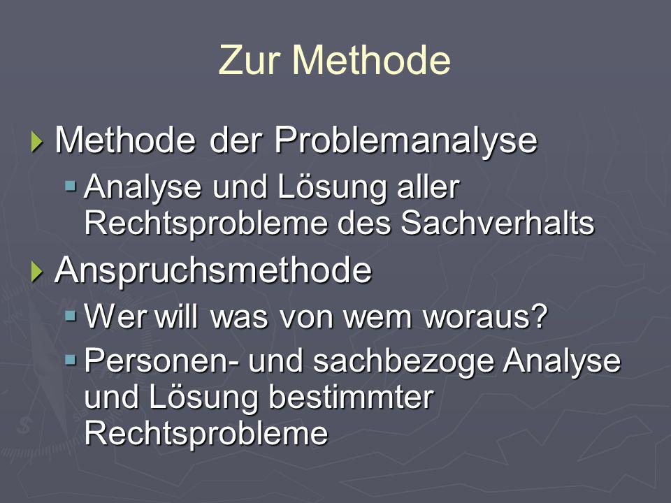 Zur Methode  Methode der Problemanalyse  Analyse und Lösung aller Rechtsprobleme des Sachverhalts  Anspruchsmethode  Wer will was von wem woraus.