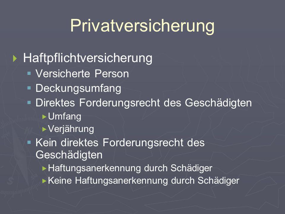 Privatversicherung   Haftpflichtversicherung   Versicherte Person   Deckungsumfang   Direktes Forderungsrecht des Geschädigten   Umfang  