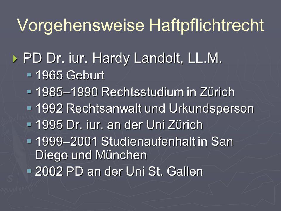 Vorgehensweise Haftpflichtrecht  PD Dr. iur. Hardy Landolt, LL.M.  1965 Geburt  1985–1990 Rechtsstudium in Zürich  1992 Rechtsanwalt und Urkundspe