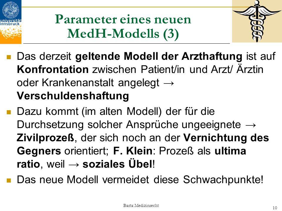 Barta:Medizinrecht 10 Parameter eines neuen MedH-Modells (3) Das derzeit geltende Modell der Arzthaftung ist auf Konfrontation zwischen Patient/in und