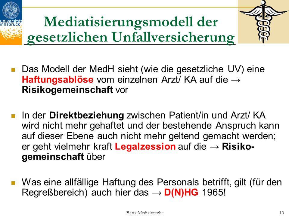 Barta:Medizinrecht13 Mediatisierungsmodell der gesetzlichen Unfallversicherung Das Modell der MedH sieht (wie die gesetzliche UV) eine Haftungsablöse